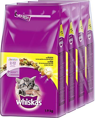 Whiskas Katzenfutter Trockenfutter Junior <1 für Kätzchen/Kitten mit Huhn, 6 Beutel (6 x 1,9kg)