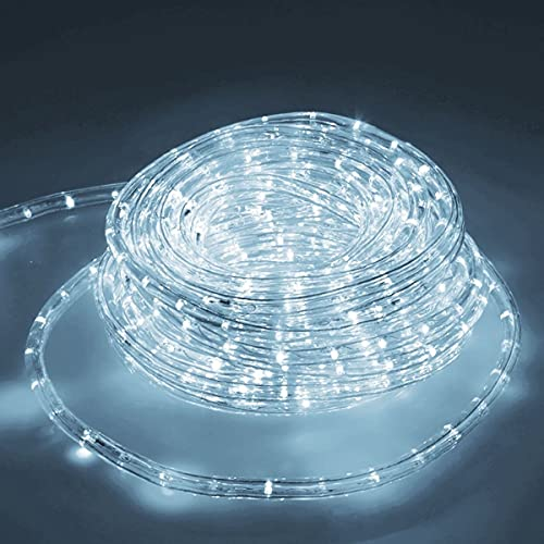 ECD Germany LED Tube Lumière Guirlande 20m - 12W CA - 220-240V - Blanc froid 6000K - 791 Lumens - Bandes de LED de Noël pour Intérieur/Extérieur - IP44-36 Lampes - A+ - non Dimmable