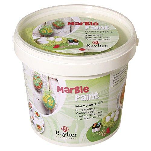 Rayher Marble Paint Set, 4 Farben, 5 Eier inklusive Zubehör, Eimer, Div. Materialien, hellblau, gelb, orange, hellgrün, 33.7 x 32.6 x 16.5 cm
