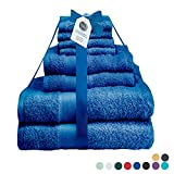Midland Bedding 8 Piece Bale Cotton Towel Set, Multiple Colours in 400 GSM Thread Count (Royal Blue)