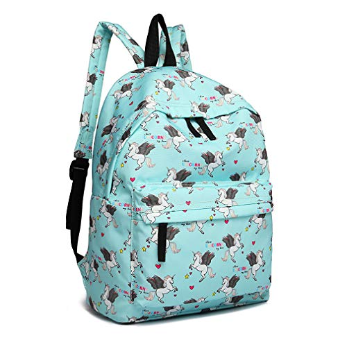 Kono Children's Backpacks Unicorn School Bag Canvas Rucksack for Girls and Boys Fashion Printed Bookbag for Students Teenagers Casual Daypack (Blue)
