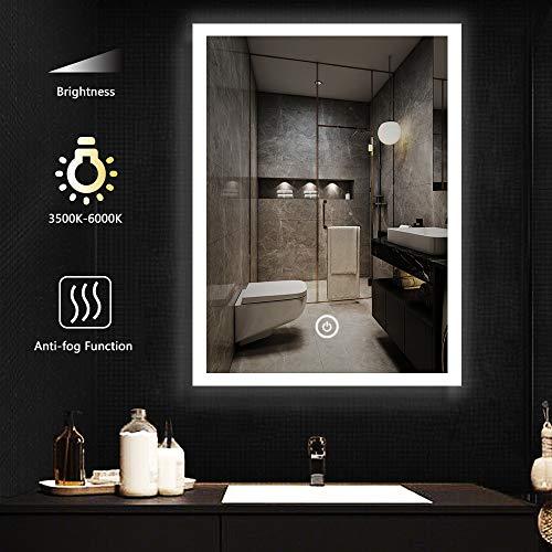 LITZEE Espejo de Pared de baño de 60x80cm con Función Antivaho, Espejo de baño LED Cosmético con Interruptor Táctil de Iluminación