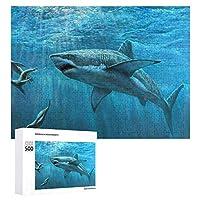 ジグソーパズル 1000ピース 木製 パズル サメ ピクチュアパズル Picture puzzle おもちゃ ウォールアート 壁飾り 壁掛け ポスター アートフレーム ギフト プレゼント 知育減圧 オフィス インテリア 50x75cm