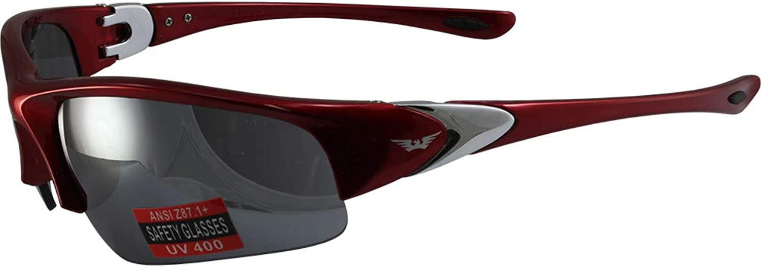 Global Vision Cool Breeze Safety Sunglasses Red Frames Flash Mirror Lenses ANSI Z87.1