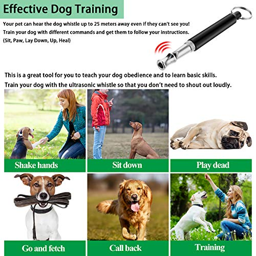 Dog Whistle, Ultrasonic Sound Dog Whistle, Dog Training Tools -Adjustable Lanyard and Frequencies, Comes with Exquisite Bells, Effective Way of Pet Training, Dog Whistles to Stop Barking(2 PCS)
