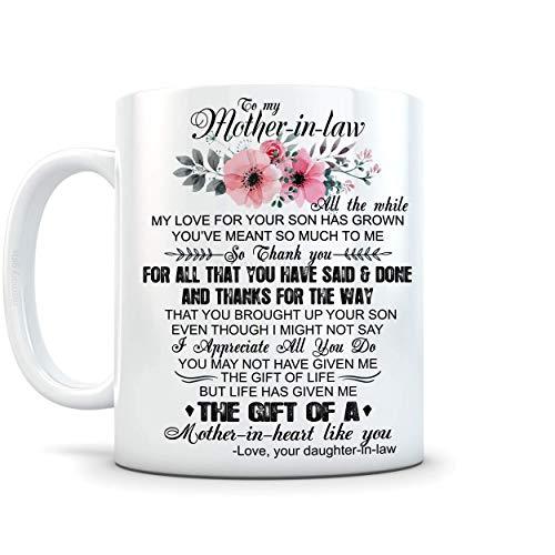 N\A A mi Suegra, Gracias, Taza de café de cerámica novedosa de 11 onzas, San Valentín, Navidad, Regalos para Suegra, Regalo para Suegra de mi Hija, Regalo de cumpleaños para Suegra, madrastra, VT4