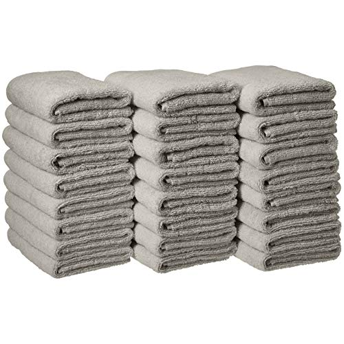Amazon Basics Cotton Hand Towels, Gray - Pack of 24