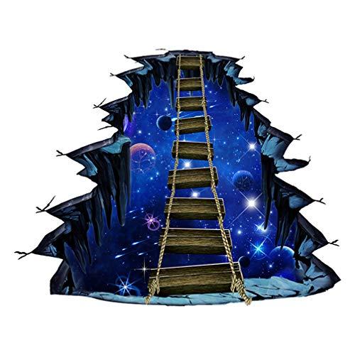 IMIKEYA Pegatinas de Pared rotas 3D Puente Universo Planeta calcomanías de Piso calcomanías murales extraíbles decoración de Sala de Arte de Vinilo para Sala de Estar Dormitorio Cocina