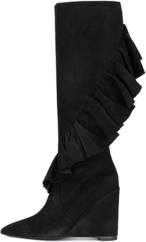 UMEXI Women Pointed Toe Sexy Falbala Splicing Black Wedge Heel Knee High Boots