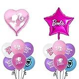 12pcs Barbi Party Supplies Balloons set 10pcs 12' Latex Balloons 2 pcs aluminum Foil balloons Kids Baby Shower Barbi Birthday Party Decorations