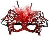 VENTURA TRADING MX8 Rojo Máscara de la Mascarada Mascarilla Veneciana Pluma Decoración Mujer Mascarada Disfraz Mardi Gras Fiesta Pelota Paseo