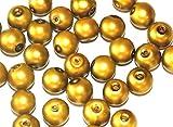 Markylis - 100 Matt Pearl Glass Jewellery Craft 8mm Round Beads - Bottle Green