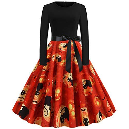Halloween-Kleid, Damen, Vintage-Stil, lange Ärmel, Halloween, 50er-Jahre, Hausfrau, Abendparty, Abschlussball, Wokasun.JJ - - Large