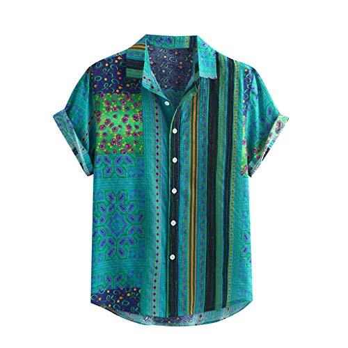 Yowablo Hawaii-Shirt für Herren Vintage Hemd Männer Bunte Streifen Sommer Kurzarm lose Knöpfe lässige Bluse (XXL,Grün)