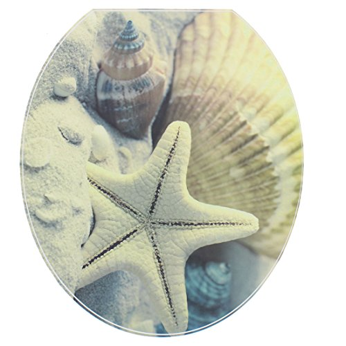 sourcing map WC Aufkleber Toilettensitz Badezimmer PVC Starfish Pattern Abnehmbare Wasserresistenz WCckel Aufkleber