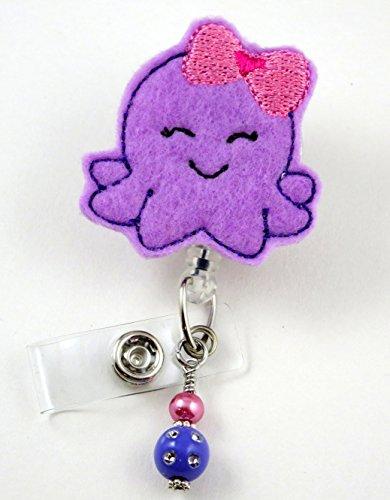 Purple Octopus with Pink Bow - Nurse Badge Reel - Retractable ID Badge Holder - Nurse Badge - Badge Clip - Badge Reels - Pediatric - RN - Name Badge Holder