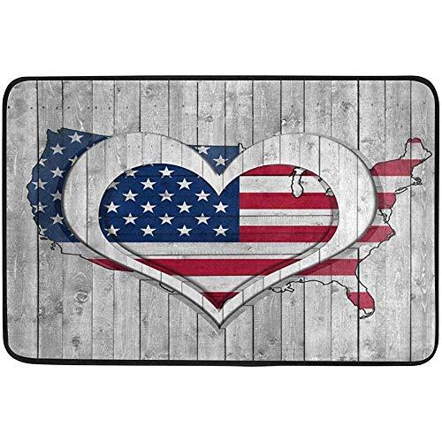 Taoshi Uscite Antiscivolo Zerbino Scarpa Raschietto Stuoia Porta Bandiera Americana con Cuore su Legno per Camera da Letto Porta Anteriore Cucina Interni Casa Decorazioni