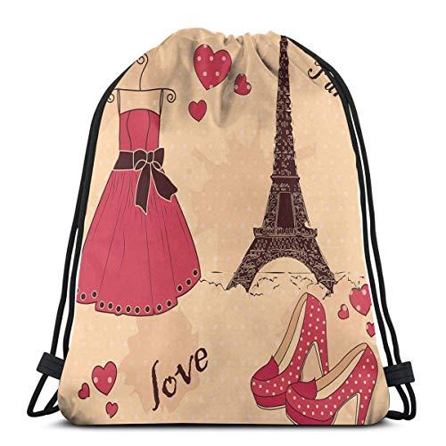 Kordelzug Rucksäcke Taschen, Paris Boutique Französisch Retro Kleid Schuhe Eiffelturm