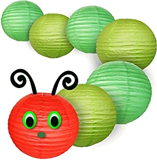 Just Artifacts 8inch Classroom Caterpillar Paper Lanterns Package (1) 8-Inch Red Chinese Paper Lantern, (3) 8-Inch Green Paper Lanterns, (3) 8-Inch Light Green Paper Lanterns, (1) String