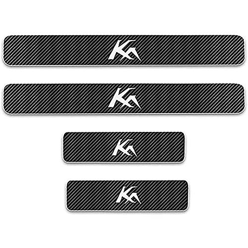 ZGYAQOO 4 Pcs Car Carbon Fiber Leather Door Sill Kick Plates for Ford KA, Scuff Plate Guard Protector Trim Sticker, with High Intensity Reflective Tape