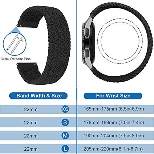 MroTech Kompatibel mit Samsung Gear S3 Frontier/Galaxy Watch3 45mm/Galaxy Watch 46mm Armband 22mm Uhrenarmband Nylon Ersatzband für Huawei Watch GT/GT2 46 mm Band 22 mm Elastic Woven Loop-Schwarz/M