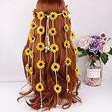 Beaupretty Diadema de Hippie de Girasol Bohemio Ajuste la Banda de Pelo de Flores con Nudo Suelto y múltiples tocados de Flores Boho (Amarillo)
