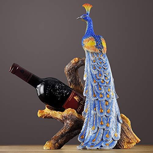 MGWA Adornos para botellero de vino, decoración de estilo europeo, creativo, para sala de estar, decoración de armario, regalos de boda, decoración de escritorio, 28,5 x 19,5 x 41,5 cm (color: azul)