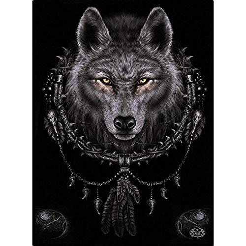 Yiyai 3D Painting Embroidery Diamond Painting Wolf Full Drill Round Diamond Art Embroidery Cross Stitch Gift Rhinestone Crystal-30x40cm
