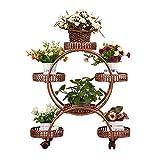 PeiQiH 4-rang 6 Korb Blumenständer Mit Rollen,Wohnzimmer Balkon Indoor Mobil Boden-Stehen Blumenständer,Multi-Schicht Eisenkunst Blumenregal F 50x32x80cm(19.7x12.6x31.5inch)