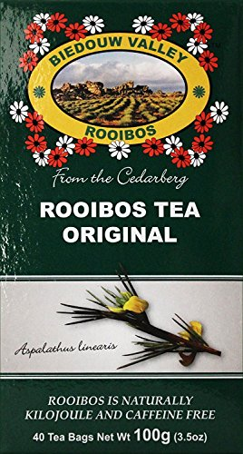 Rooibos Tea: 100% Natural South African. Caffeine & Calorie Free, Antioxidant & Mineral Rich. 40ct Tagless Bags (Oxygen Bleached), By Biedouw Valley