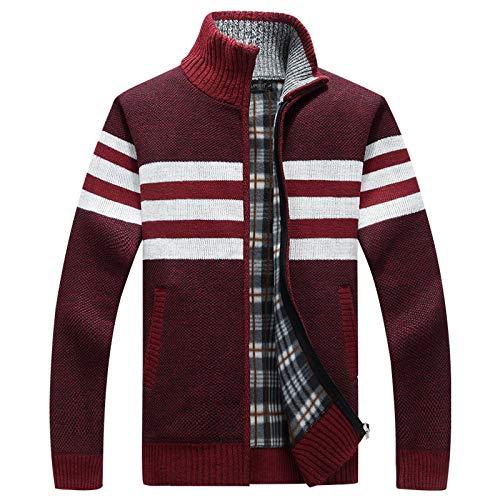 Luandge Abrigo de suéter de Cuello Alto con Bloqueo de Color a Rayas para Hombre con Cremallera Chaqueta básica Informal de Estilo al Aire Libre de Corte Ajustado de Moda XL