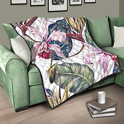 AXGM Colcha para cama con diseño de plantas tropicales, hojas, flores, manta suave y cálida, sillón blanco, 180 x 200 cm