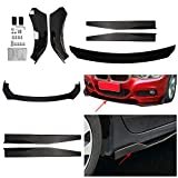 ZXMOTO Universal Front Bumper Lip Body Kit + 74.5cm Side Skirt Rocker Panels Car Front Lip Spoiler Diffuser with Pair Winglet Wings fits for Most Cars BMW Honda Audi VW