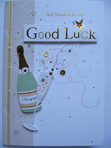 STUNNING LUXURY GLITTER CHAMPAGNE WANNEER GOEDE LUCK GREETING CARD
