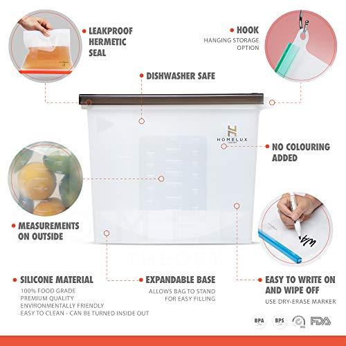 Homelux Theory Reusable Silicone Food Storage Bags Silicone Bags Reusable Bags Silicone Silicone Storage Bags Silicone Food Bags Reusable Silicone Food Bag (3 Large + 4 Medium)