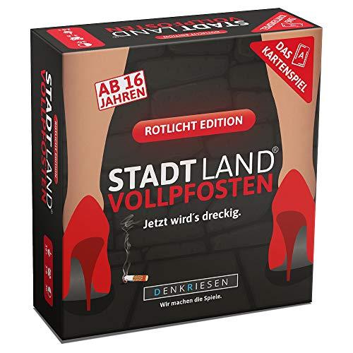 DENKRIESEN - Stadt Land VOLLPFOSTEN - Das Kartenspiel - Rotlicht Edition | Partyspiel | Wichtelgeschenk | Stadt Land Fluss | Scherzartikel