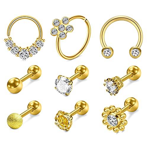 AVYRING Oro Piercing Helix 16G Acero Inoxidable Mujeres Hombres Aros Caballo Piercing Conch Joyería Diamante CZ Piercing Oreja Cartilago 9Piezas
