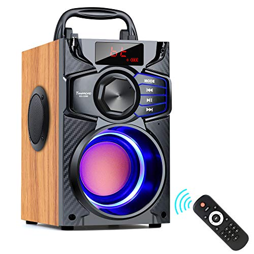 A900 Bluetooth Lautsprecher, 10W tragbarer Bluetooth Lautsprecher mit Subwoofer, FM Radio, LED Leuchten, EQ, 20 Meter Reichweite, Bluetooth 5.0 Wireless Stereo Lautsprecher für Außen und Innenpartys