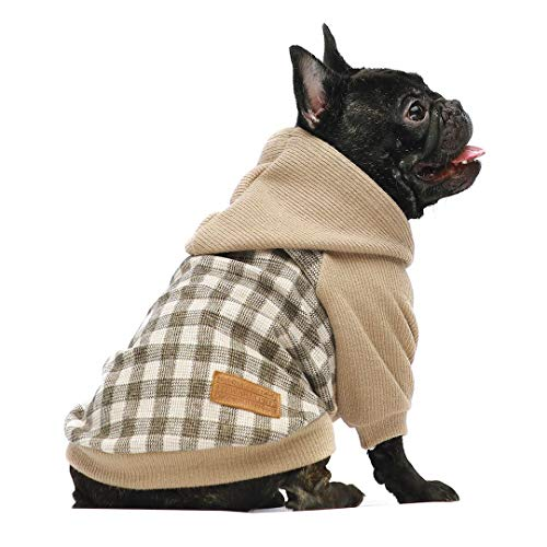 Fitwarm Knitted Pet Clothes Dog Sweater Hoodie Sweatshirts Pullover Cat Jackets Khaki Medium