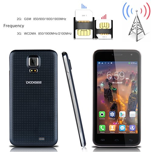 2014 i più nuovi DOOGEE VOYAGER2 DG310 5 '' Android 4.4 OS Kitkat Quad Core sbloccato Smartphone 3G - LG IPS TouchScreen MTK6582 1.3GHz 1G di RAM 8G ROM + Mobile Phone Dual SIM OTG OTA GPS WIFI Dual Camera SIM-Free 3G cellulare phablet Supporto con un mi