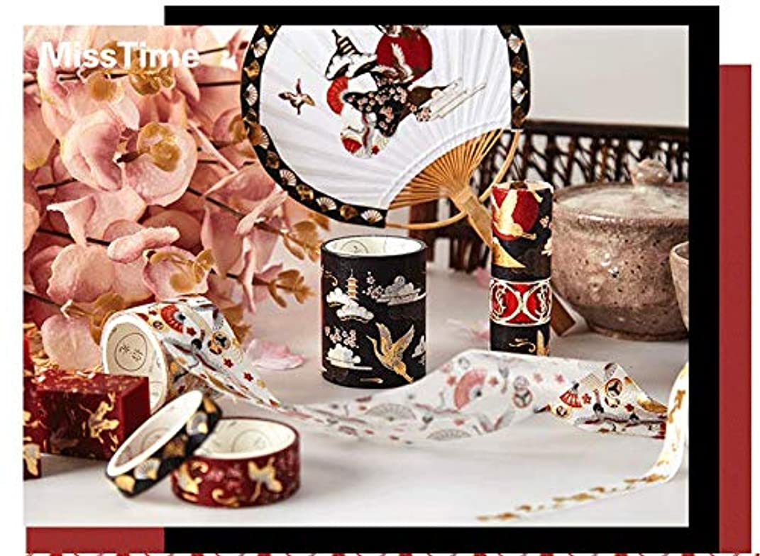 BCopter Washi Masking Tape Set Creative DIY Arts Kit Party Craft Favor for Kids Adults, Colorful Sticky Paper Decoration Gift Wrap Scrapbook Journal, Hand Tear Writable (Crane Floral)
