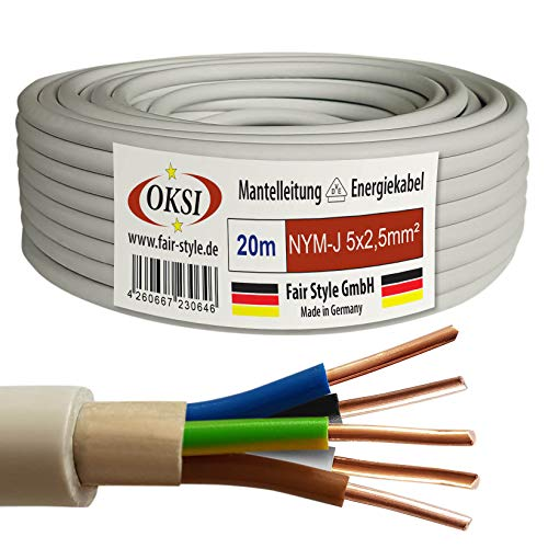 OKSI 20m NYM-J 5x2,5 mm² Mantelleitung Feuchtraumkabel Elektrokabel Kupfer Made in Germany