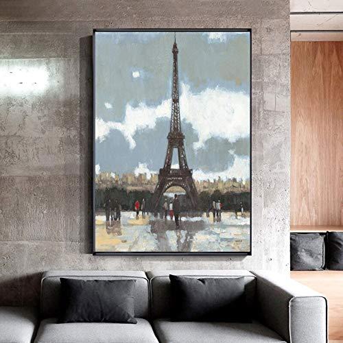 hetingyue Pariser Eiffelturm abstrakte Landschaft Ölgemälde Poster und Leinwanddruck Wandkunst Bild Wohnzimmer Dekoration Gemälde Dekoration 30x45cm