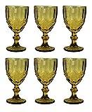 Vintage 6 Teile Set Schleife Weinglas Glas Gläser Weingläser Eisbecher Wasserglas Longdrinkglas Wasserkrug (Whisky)