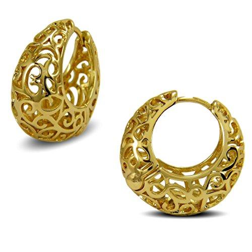 Blue Diamond Club - Womens Creole Filigree Hoop Basket Earrings 9ct Yellow Gold Filled