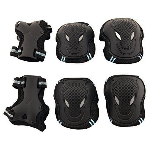Physport Red Safety Protective Gear Keen,Elbow,Wrist 6 pcs Set Protective Pads Blue and Black S Size