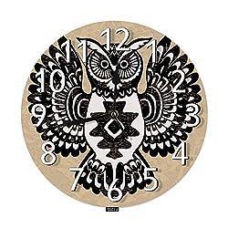 SSOIU Black Owl Wall Clock,Wild Totem Animal Tribal Forest Animal Night Bird Boho ethnics Silent Non-Ticking Round Wall Clock Battery Operated for Home Office Decorative Clock Art