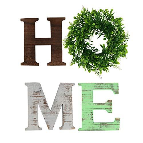 GUIFIER Letras de madera decorativas 'HOME', letreros de madera decorativos con palabras, letras de madera independientes Letras de madera con corona, letreros rústicos para el hogar para decoración