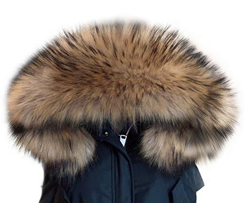 MAGIMODAC Elegante Cuello Bufanda Bufandas de Piel de Zorro Sintética para Chaqueta Abrigo Capucha Mujer (marrón claro, 70cm)