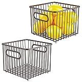 mDesign Juego de 2 cestas de metal – Versátil cesto de alambre multiusos para...